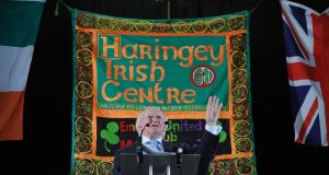 President Michael D Higgins speaking at the  Haringey Irish Cultural and Community Centre in north London during a visit to the city yesterday.  Photograph: Stefan Rousseau/PA