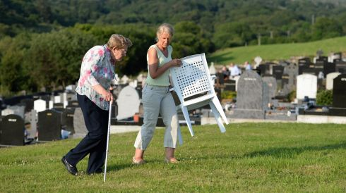 Getting ready to be seated for the outdoor Mass. Photograph: Frank Miller/The Irish Times