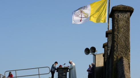 A Vatican City State flag flies under an unblemished blue sky. Photograph: Frank Miller/The Irish Times