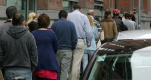 A  queue for unemployment benefit outside Bishop Street Social Welfare Office in Dublin. Pathways to Work, published in February 2012, promised a multi-pronged approach to the unemployment crisis. Photograph: Frank Miller/The Irish Times