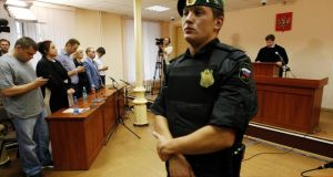 The judge is expected to hand down a sentence later today. Photograph: Sergei Karpukhin/Reuters