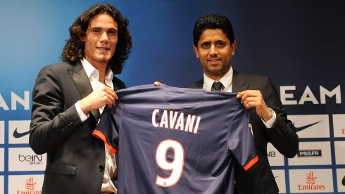 Edinson Cavani  signed for a Paris Saint Germain after the French club met his Napoli release clause with a £55m bid and a little change for their troubles. Photograph: Antoine Antoniol/Getty Images