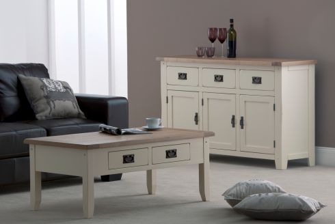 This Panama collection of painted pine pieces , with solid oak tops and black metal and copper detailing on handles, is reduced at Furniture Designs (01-4515326, furnituredesigns.ie) on Old Bawn Road, Dublin 24. A sideboard (135cm by 40cm by 81cm) is down from €719 to €499. A matching coffee table (110cm by 60cm by 45cm) was €429 and is now €299. Delivery within the greater Dublin area is free.