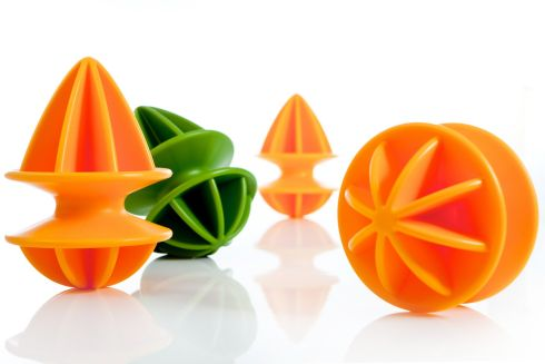 THREE OF THE BEST . . . FOR SUMMER PUNCH: Citrange is a dual-sided squeezer (14cm tall) made to accommodate the various sizes and diameters of citrus fruit. Available in bright orange or lime green, it has a central axis that allows the juice to be funnelled through, while filtering out the seeds. It has a tapered middle for stable grip and costs €15 from Designist (01-4758534, designist.ie) in Dublin 2.