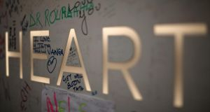 Well-wishers left messages to the former South African president on the sign outside the Medi-Clinic Heart Hospital. Photograph: Christopher Furlong/Getty Images