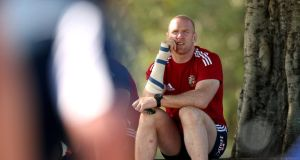 Paul O'Connell watches a training session during the recent British and Irish Lions tour