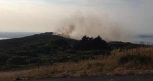 The gorse fire on Howth Hill this morning. Photograph: Robin Blandford