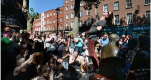 Singer Amanda Palmer photographed on Liffey Street where she surprised passers-by with a busking session. Photograph: Brenda Fitzsimons