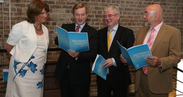 Minister for Social Protection Joan Burton, Taoiseach Enda Kenny ,Tánaiste Eamon Gilmore and Education Minister Ruairi Quinn at the Digital Hub in Dublin at the launch of the Pathways to work scheme. Photograph: PA