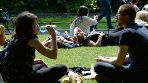 Soaking it up at St Stephen's Green. Photograph: Frank Miller/The Irish Times