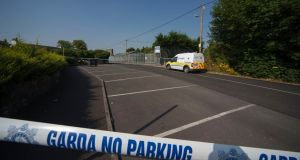 Gardai have sealed off a laneway in Athy for a forensic examination after body of a man found.  Photograph: Michael O'Rourke.