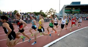 Competitors wind it up in Wednesday's Morton Mile at Santry Stadium.