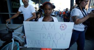 Florida free: Nine-year-old Thandiee Abdullah at a protest, in California, against the acquittal of George Zimmerman in the killing of Florida teenager Trayvon Martin. Photograph: Mario Anzuoni/Reuters