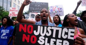 Florida free: J'Mila Pittman at a rally in support of  Trayvon Martin in Orlando, Florida. Photograph: David Manning/Reuters