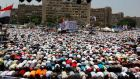 Supporters of deposed Egyptian president Mohamed Morsi perform Friday prayers during a protest at the Rabaa Adawiya square  in Cairo on Friday. Photograph:  Mohamed Abd El Ghany/Reuters