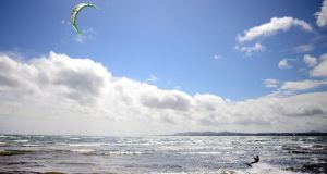 Kite surfing  in Dublin Bay near Sandymount. Photograph: Bryan O'Brien/The Irish Times