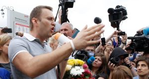 Russian protest leader Alexei Navalny addresses supporters and journalists after arriving from Kirov at a railway station in Moscow today. Photograph: Sergei Karpukhin/Reuters