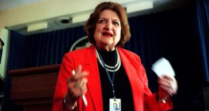 Helen Thomas at the White House in Washington in 1997. Thomas, who overcame gender barriers with bottomless curiosity and an unquenchable drive to become one of the best-known White House reporters of her time before her career ended ignominiously over her remarks about Jews, died today. Photograph: Paul Hosefros/The New York Times