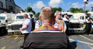 Members of the Orange Order take protest after police blocked an Orange Parade from marching past the Nationalist Ardoyne area in Belfast today. Photograph: Cathal McNaughton/Reuters