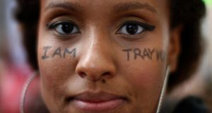 A message is displayed on the face of Keesha Clark during a march to protest the verdict in the George Zimmerman trial in Los Angeles. Photograph: David McNew/Reuters