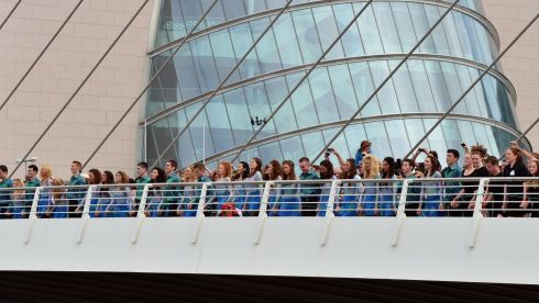 Dancers stretched across the Samuel Beckett Bridge. Photograph: Alan Betson/The Irish Times