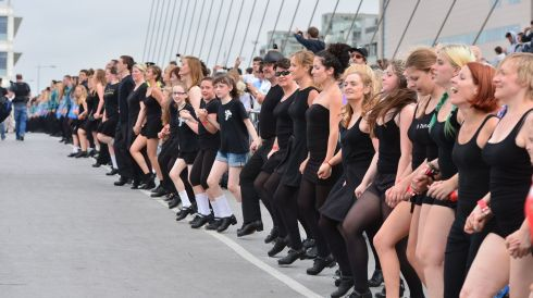 The Samuel Beckett Bridge bounced like a trampoline as the dancers jigged. Photograph: Alan Betson/The Irish Times