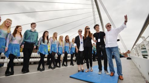 Moya Doherty, Jean Butler, Breandan De Gallai and John McColgan encourage some of the 1,693 Irish dancers including members of the current Riverdance troupe who took part in the event today. Photograph: Alan Betson/The Irish Times