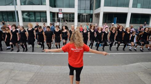 One of the Riverdance crew encourages members of the Susan Ginnety School of Irish Dance. Photograph: Alan Betson/The Irish Times