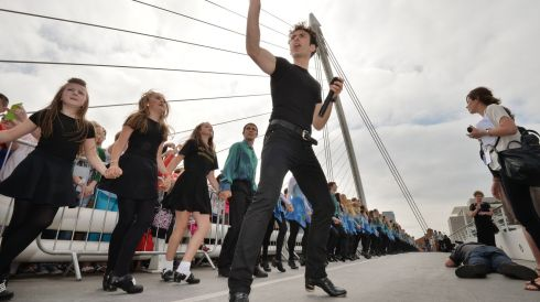 Breandan De Gallai , lead dancer with Riverdance,  encourages the dancers to keep going. Photograph: Alan Betson/The Irish Times