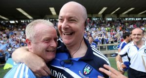 Monaghan manager Malachy O'Rourke celebrates after the game. Photograph: Donall Farmer/Inpho