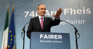 Fianna Fáil leader Micheal Martin during his opening speech of the 74th Fianna Fail ardfheis held at the RDS earlier this year. Photograph: Brenda Fitzsimons/The Irish Times