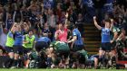 Leinster players celebrate Nathan Hines's try in the 2011 final against Northampton at the Millennium Stadium. Photograph: Colm O'Neill/Inpho
