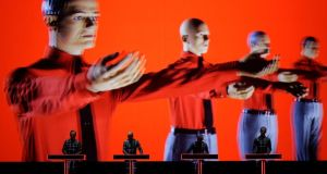German electronic band Kraftwerk unleash their 3D show. Photograph: Denis Balibouse/Reuters