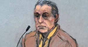 "An artist's impression of Stevie ""The Rifleman"" Flemmi on the witness stand in James Whitey Bulger's murder and racketeering trial. Image: Jane Collins/Reuters"
