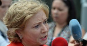 Minister for Children and Youth Affairs Frances Fitzgerald talking to reporters about the death of a woman who went from Ireland to the UK for an abortion. Photograph: Frank Miller/The Irish Times