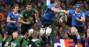 Leinster's Jamie Heaslip makes a break during the 2011 Heineken Cup final victory over Northampton. The two sides will resume hostilities in Pool 1 in this season's competition. Photograph: Colm O'Neill/Inpho