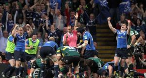 Leinster players celebrate Nathan Hines' try in their Heineken Cup final victory over Northampton  in 2011. The two sides will meet in Pool 1 in this season's competition. Photograph: Colm O'Neill/Inpho