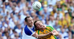 Monaghan's Vincent Corey put the shackles on Donegal danger man Michael Murphy in Sunday's Ulster senior football final at Clones. Photo: William Cherry/Inpho/Presseye