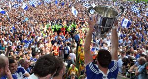 Monaghan celebrate winning the Anglo-Celt Cup. The GAA president has expressed his worries over the recent spate of pitch invasions. Photograph: Inpho