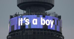 The British Telecom tower displays 'it's a boy' to mark the birth of a baby boy for Catherine, Duchess of Cambridge and her husband Prince William, in London yesterday evening. Photograph: Reuters