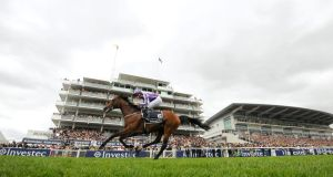 "St Nicholas Abbey, ridden by Joseph O'Brien, winning the Coronation Cup. The horse suffered a ""serious career-ending injury"" this morning, Coolmore have confirmed."