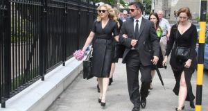 Madonna arriving at St. Patrick's Church in  Monkstown today for the funeral mass of David Collins. Photograph: Mark Doyle