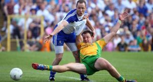 Monaghan hit Donegal where they were strongest, shutting down their full forward line including Vinnie Corey's marking job on Michael Murphy. Photograph: Inpho