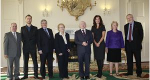 President Michael D Higgins in Áras an Uachtaráin with members of the Council of State (from left) Prof Gearoid Ó Tuathaigh, Ruairí McKiernan Prof Gerard Quinn, Ms Justice Catherine McGuinness Prof Deirdre Heenan, Sally Mulready and Michael Farrell. Photograph: Brenda Fitzsimons