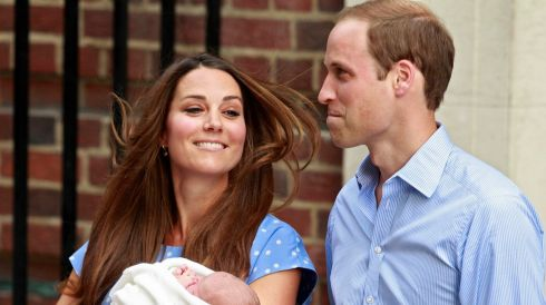 Britain's Prince William and his wife Catherine, Duchess of Cambridge appear with their baby son. Photograph: Cathal McNaughton/Reuters
