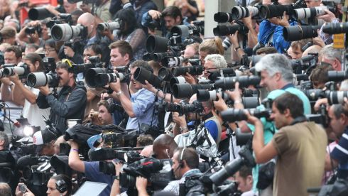 The mass ranks of the media captures the moment. Photograph: Steve Parsons/PA Wire