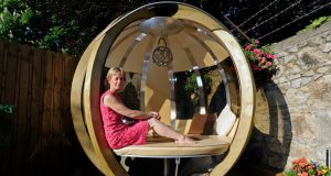 Yvonne Hegarty, with her 'garden pod', at her home in Rathmines. Photograph: Dave Meehan