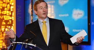 Taoiseach Enda Kenny officially opens ithe Salesforce.com building in Leopardstown yesterday. Photograph: Alan Betson