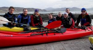Catherine Mack (third from left), on her Far and Wild kayaking adventure. Photograph: Harvey Futcher