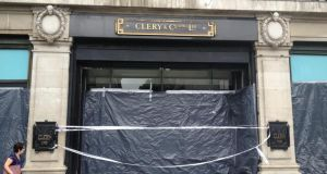 Clerys Department store on O'Connell Street in Dublin is closed today after it was damaged in heavy rainfall last night. Photograph: Genevieve Carbery/The Irish Times